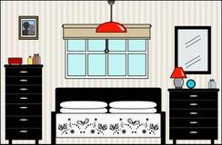 有家具和配件的主卧室 库存例证