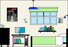 有家具和配件的青少年的卧室 向量例证