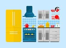 有家具和长的阴影的厨房 平的样式例证 库存图片