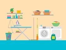 有家具的内部洗衣房 向量 免版税库存照片