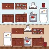 有家具的厨房在平的样式 库存照片