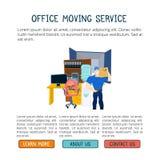 有家具的移动的服务人和移动的卡车导航与拷贝空间的例证 免版税库存照片