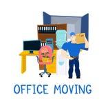有家具的移动的服务人和移动的卡车导航例证 免版税库存图片