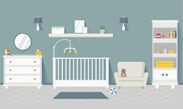 有家具的婴孩室 内部时髦 平的样式传染媒介例证 免版税库存照片