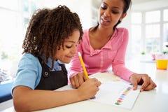 有家庭作业的母亲帮助的女儿在厨房里 免版税库存照片