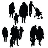 有家庭剪影例证的孩子 免版税库存图片