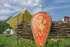 有家庭徽章的红色骑士的盾在草的 库存图片