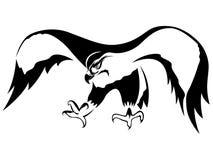 有宽翼的攻击的鹰 免版税库存图片