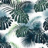 有密林植物的黑暗和明亮的热带叶子 无缝的与绿色棕榈和monstera叶子的传染媒介热带样式 库存例证