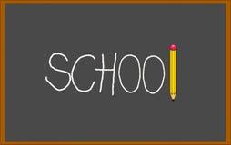 有对此写的学校的黑黑板与白垩和铅笔 库存图片