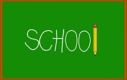 有对此写的学校的绿色黑板与白垩和铅笔 免版税库存照片