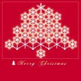 有对此的一棵圣诞树,由光亮的雪制成的红色背景圣诞卡 库存图片