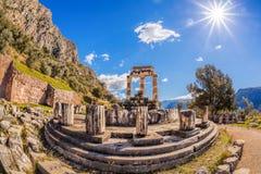 有寺庙的废墟的特尔斐在希腊 库存图片