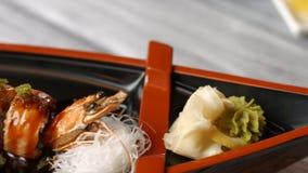 有寿司卷的板材 股票视频