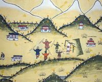 有射箭绘画的不丹房子-不丹 图库摄影