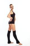 有小丑构成舞蹈的女孩 免版税库存图片