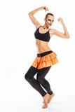 有小丑构成舞蹈的女孩 免版税库存照片