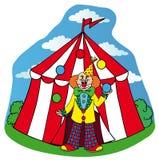 有小丑的马戏场帐篷 免版税图库摄影