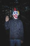 有小丑面具的人在木头 免版税库存照片