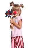 有小丑鼻子的小女孩 库存照片
