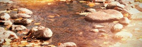 有小卵石石头的河在一个晴天 免版税图库摄影