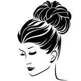 有小圆面包发型头发的时尚妇女 库存例证