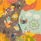 有小女孩的逗人喜爱的树上小屋和动物在秋天停放 库存照片