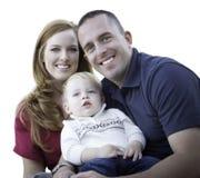 有小孩儿子画象的年轻可爱的父母在白色 库存照片