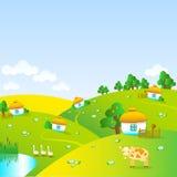 有小屋的美丽的村庄 图库摄影