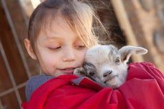有小山羊的女孩 图库摄影