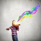 有小提琴的女孩 库存照片