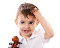 有小提琴的小男孩 库存照片