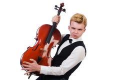 有小提琴的滑稽的人 免版税库存照片