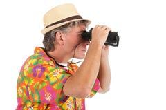 有小望远镜的游人 免版税图库摄影