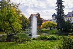 有小湖的-小西部漂泊温泉镇Marianske Lazne Marienbad -捷克的中心中央温泉公园 免版税库存图片