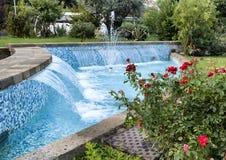 有小瀑布、蓝色瓦片和一个玫瑰丛的一个可爱的喷泉在一条街道上在索伦托,意大利 免版税图库摄影