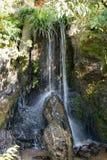 有小瀑布的日本庭院 免版税库存照片