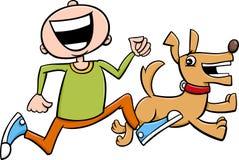 有小狗动画片的男孩 免版税库存图片