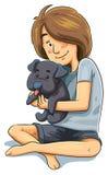 有小狗的女孩 库存照片