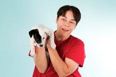 有小狗的妇女 免版税库存照片