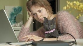 有小猫的可爱的妇女使用膝上型计算机 股票录像