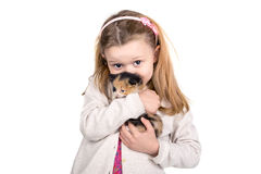 有小猫的女孩 免版税库存图片