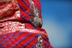 有小珠和水晶的印地安五颜六色的礼服在文化节日市场上 免版税库存照片