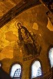 有小耶稣拜占庭式的马赛克艺术的保佑的圣母玛丽亚在圣索非亚大教堂近星点 免版税库存照片