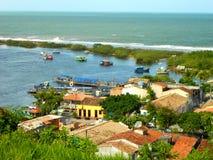 有小船的河在森林,巴西里 免版税库存照片
