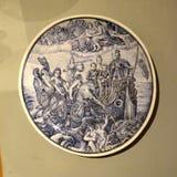 有小船绘画的装饰的板材  库存图片