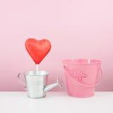 有小银色喷壶和小桃红色桶的红色有叶形装饰的巧克力心脏棍子 免版税库存照片