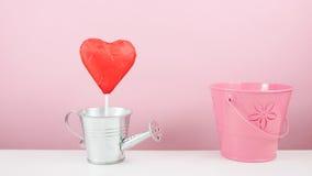有小银色喷壶和小桃红色桶的红色有叶形装饰的巧克力心脏棍子 库存图片