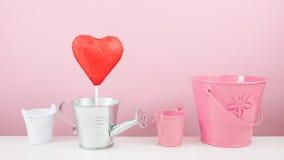 有小银色喷壶和小桃红色桶的红色有叶形装饰的巧克力心脏棍子 库存照片