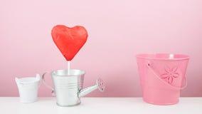 有小银色喷壶和小桃红色桶的红色有叶形装饰的巧克力心脏棍子 图库摄影